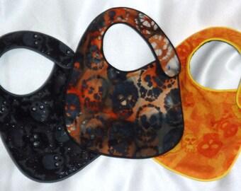 Baby Bibs Black and Orange Skulls set of 3 bibs