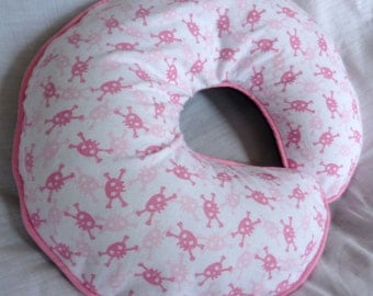 Baby Girl Boppy Cover Pink and White Skulls and Crossbones Nurshing Pillow Cover Breast feeding pillow cover
