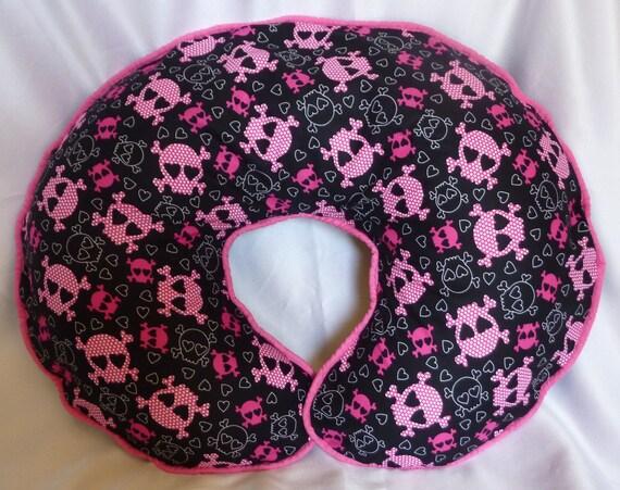 Punk Rock Boppy Pillow Cover - Pink and Black Heart Skulls Nursing Pillow Cover