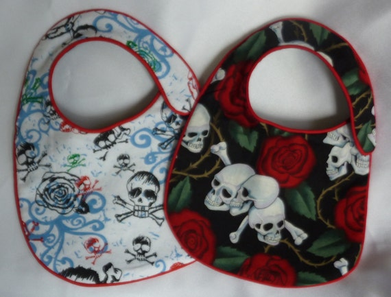 Baby Bibs - Skulls and Roses - set of 2 bibs