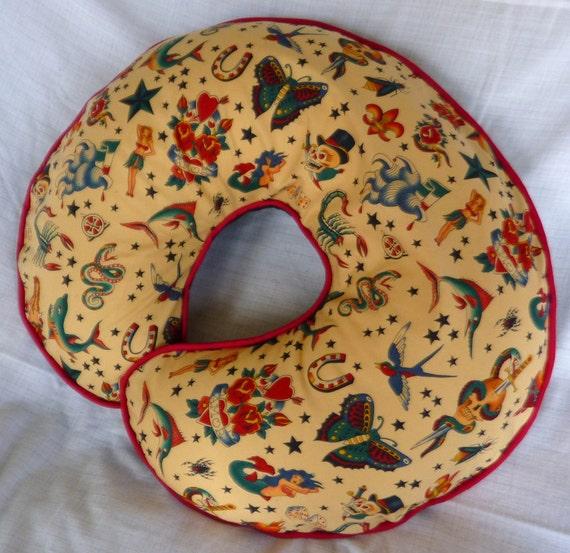 Tan Retro Tattoo Boppy Pillow Cover Nursing Pillow Cover