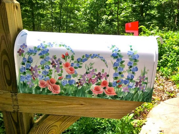 Painted Mailbox with  Meadow WILDFLOWERS,   Outdoor Decor - Designer Post style Mailbox