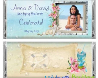 By the Sea Photo Bridal Wedding Shower Announcement Birthday Beach Party Candy Bar Wrapper Favor