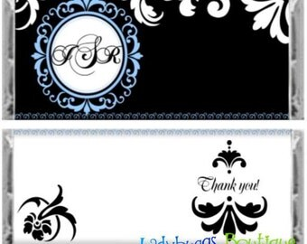 Monogram Fleur De Lis Bridal Wedding Party Birthday Favor Candy Bar Wrapper