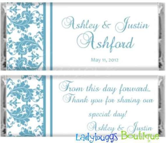Malibu Blue Damask Bridal Wedding Candy Bar Wrapper Reception