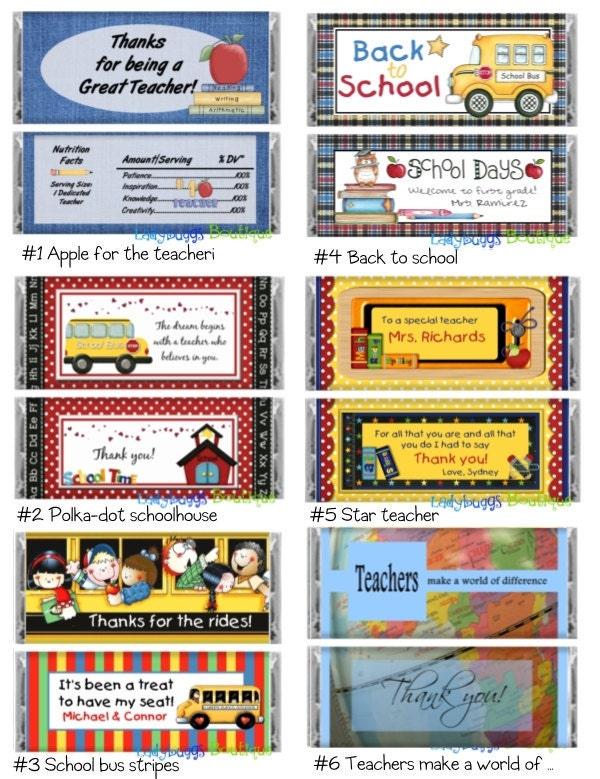 School Days Teacher Bus Driver Candy Bar Wrapper Variety Pack