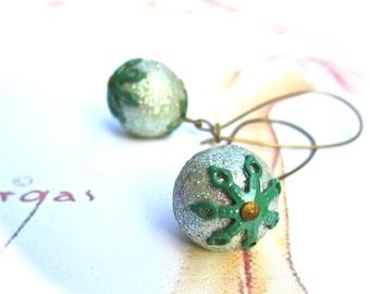 Green Earrings - Vintage Green Earrings - Sparkly, Fabulous Retro Earrings- Vintage Italian, Nickel free Earrings