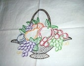 Retro White Linen Table Cloth // Hand Embroidered Fruit Design