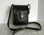 Coach Small Equestrian Cross Body Bag // Black Leather