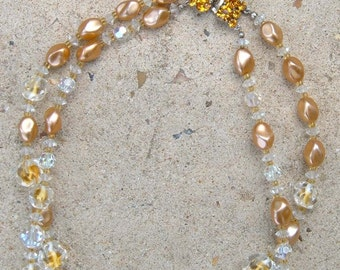 Vintage Double Strand Crystal and Gold-Colored Bead Necklace with  Rhinestone Clasp