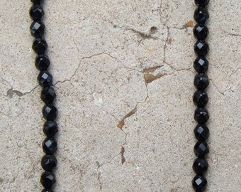 Czech  BLACK FACETED CRYSTAL Necklace