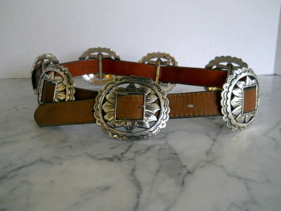 Sunflower Concho Belt // Russet Leather (size 28 US)