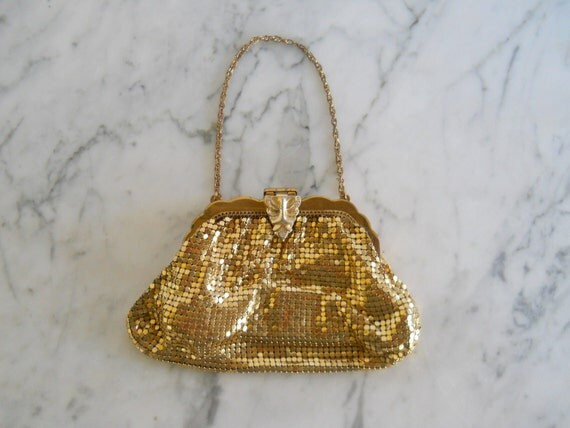 Whiting and Davis Clutch // Small Gold Mesh