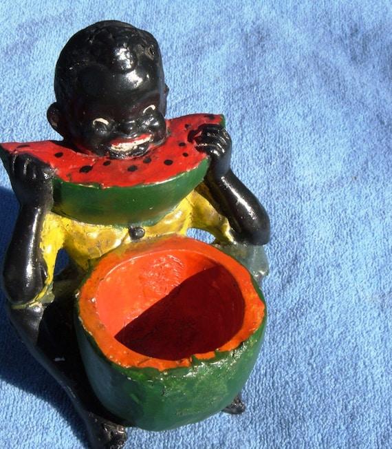 Vintage Black Child Eating Watermelon Chalk By Pearlsvintage