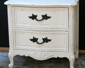Shabby Chic nightstand french provincial distressed vintage white. SALE