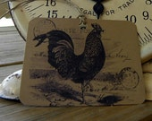 Rooster gift tags kraft paper brown