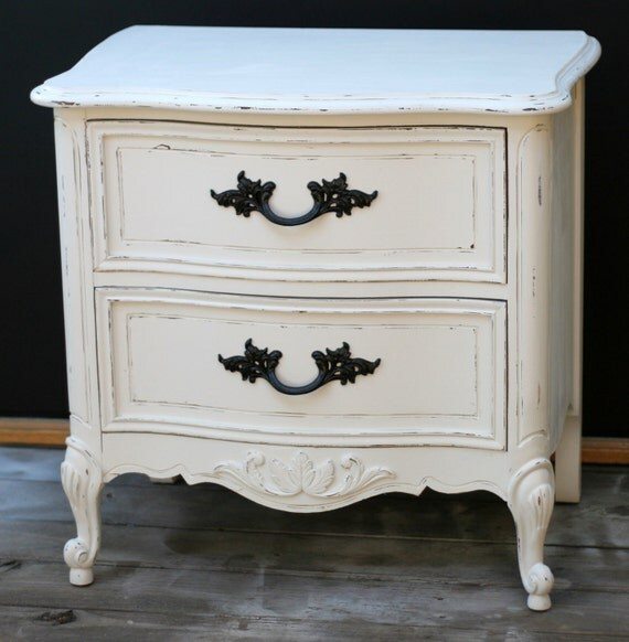 Items similar to shabby chic nightstand french provincial - Shabby chic bedroom sets for sale ...