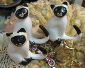 VINTAGE Siamese Cats 3 Lovely Kitty Cat Group Fine Bone CHINA  Feline