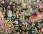 Asia Textile Floral Design Black Background Monkeys, Birds, polished cotton vg condition,cream, orange , sewing