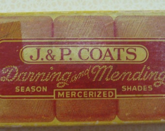 VINTAGE J. P. COATS DARNING AND MENDING BOX GRAPHICS AND THREAD SEWING MENDING NEEDLEWORK SEAMSTRESS