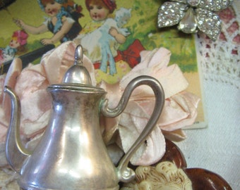 Vintage Silver Bell Teapot Lunt USA E.P. Pewter 2 Inches
