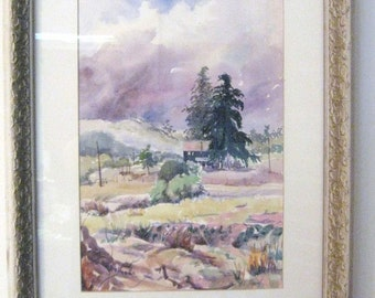 PAINTING Vintage Watercolor Artist Signed Unframed Plein Air clouds purple rock vintage Al Paquet pine trees green yellow brown rural telegraph poles