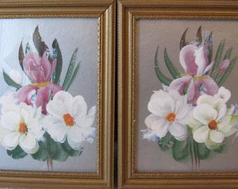 DECO Floral ORCHID Painting Pair Handpainted Original Vintage  Sale coupon code 10moj