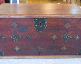 ANTIQUE Walnut Trunk Hand Hammered Fixtures Furniture Primitive Forged Rivets Cast Latch Hinges Keyhole