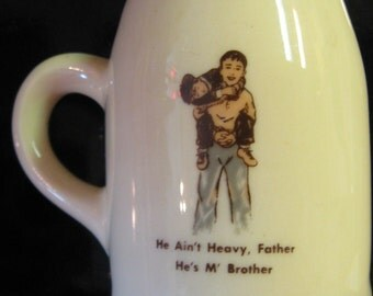 VINTAGE MINIATURE MUG BOYS TOWN HE IS MY BROTHER FATHER HE AINT HEAVY USA POTTERY PICTORIAL MALE BOY
