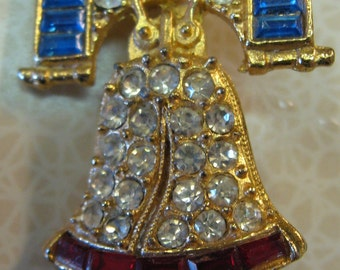 VINTAGE RHINESTONE LIBERTY Bell Brooch Patriotic Pin Bell Pin Red White and Blue