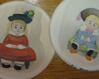 FRENCH Paintings Folk Art Miniature Watercolor Antique Miniature French Pair Children Boy Girl Round Nursery Artist 1920 Era Free Shipping
