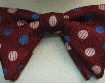 Vintage Polka Dot Bowtie Gentlemans Tie Burgundy blue dots pink dots ladies Hair Bow velcro fabric burgundy blue