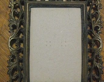 Ornate Vintage Brass Tone Picture Frame mirror w/ easel Nice