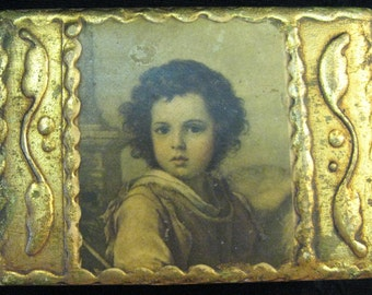 Vintage Box Italian Florentine Gilt Hinged Box Portrait Paper Mache Italy Gold Triket Box Jewlery Box Italy 1930