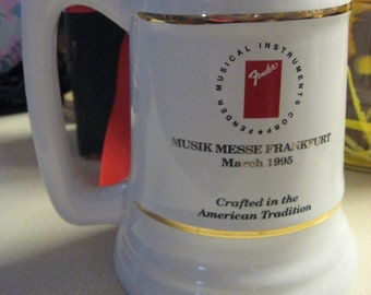 Fender Musik Messe Frankfurt 1995 Beer Stein gold trim Guitar Very rare the mug shop Collectible