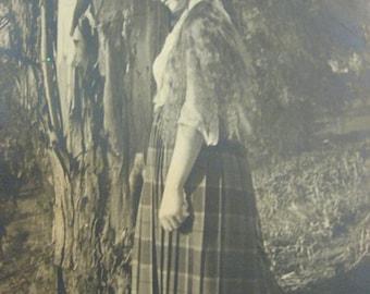 MISS TARTAN in tam HAT 7.5 by 9.5 black white Anna Scottish original photograph