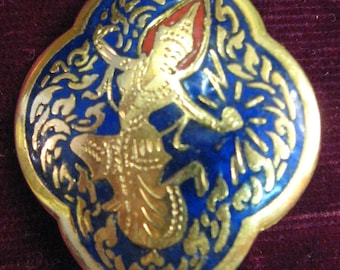 Vintage SIAM Brooch  Pin Jewelry Gold Enamel Goldtone cobalt blue red Dancing Angels