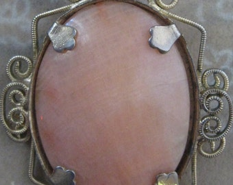 Brooch Antique Alabaster Gold Filigree Frame Victorian Pendant Pink Coral SALE coupon code 10moj