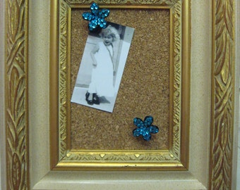 Ornate Frame Cork Board Message Display with Repurposed Jewelry Stickpins Photo Display SALE use coupon code 10moj2
