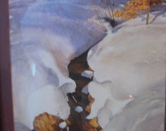 Vintage Watercolor Painting California Artist Tatich Sierra Nevada's Fall Snow Good Color c1960 Era