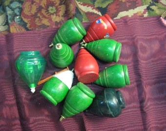 Vintage TOP Collection Lot green red wood hard plastic 10 toy tops