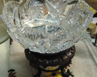 "Gorgeous Antique Cut Glass Bowl Heavy Ornate 8 1/4"" in Diameter 3.5"" Tall Gorgeous Deep Carved"