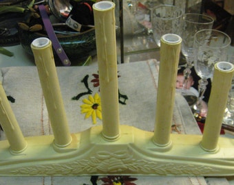 Vintage Electrical Window Candleabra Hard Plastic Embossed Bells Leaves 5 Drip Candles Nice