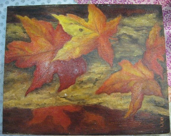 Thanksgiving Oil on Canvas Fall Painting signed Maple Leaves Nice Condition
