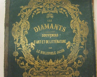 DIAMANTS SOUVENIRS 1800's hb Cover D Art et de Litterature pa le Bibliophile JacobTooled Leather gold gilt Angels Ornate Sale code 10moj2