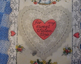 """OLD VALENTINE """"For My Sweet Valentine"""" Paper Pink Heart Flowers..Inside sayin so cute 1920's... 2.5"""" x 3 3/4"""" lovebirds"""