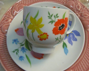 VINTAGE Teacup Weinrich Germany with Crown in blue yellow green blue orange Stylized Vintage Floral 1970 Era