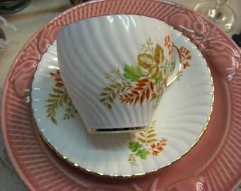 Vintage Bone China Teacup and Saucer Royal Stuart England Gold Gilt Orange Tan Green Floral 1970 Era