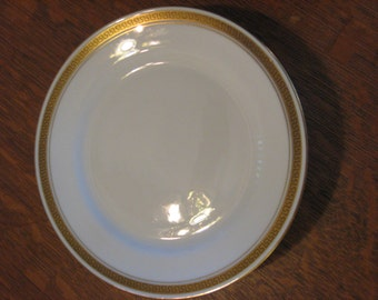 """Lawley's Norfolk Pottery Stoke Paragon Bread Plates 6 Plates Nice Condition Gold and Black Greek Key Design LOVELY 7"""" diameter"""