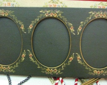 "Vintage Handpainted Frame 3 oval photographs With easle back green peach green floral 13"" long x 6"" tall  each cameo 3 x 4.5"""